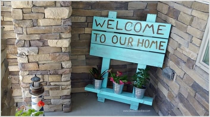 Painted planter shelf sign