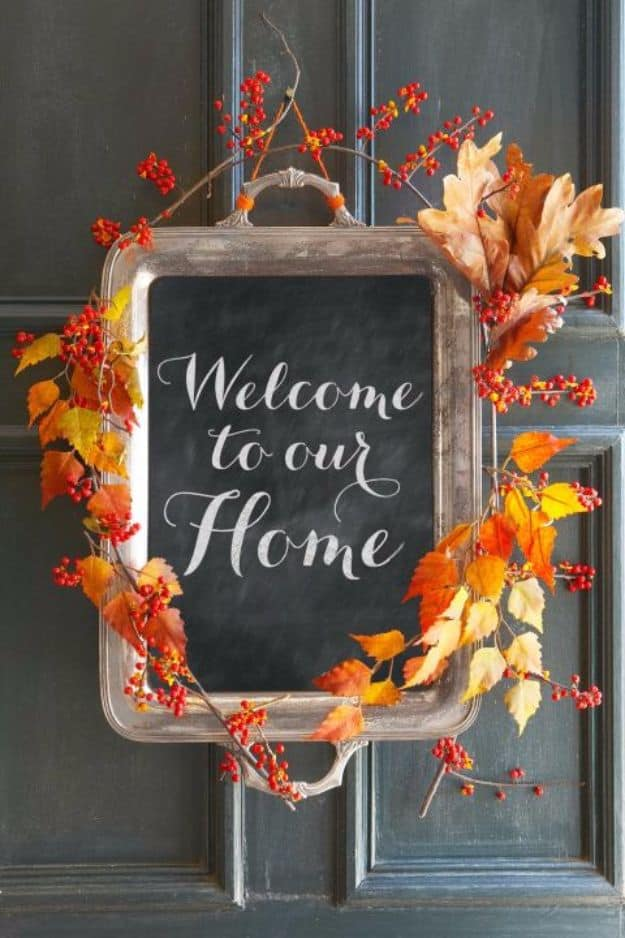 Painted silver tray and leaf fall welcome sign