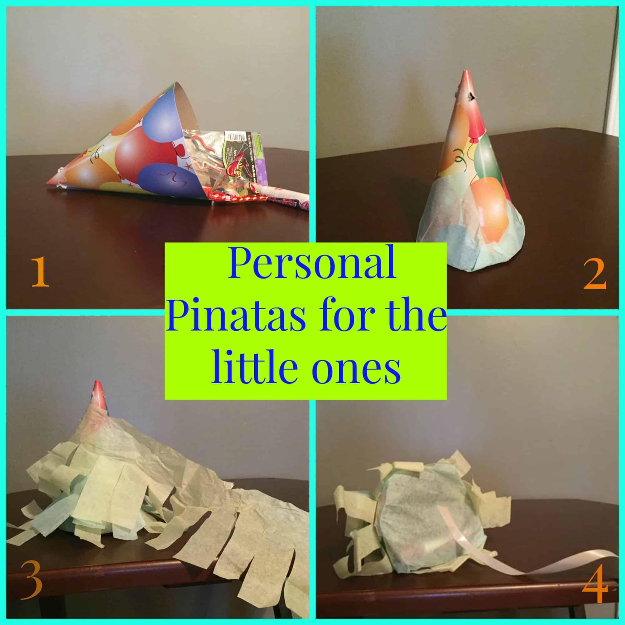 Personal pinatas made from birthday hats