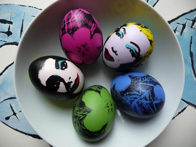 Pop art portrait hand painted eggs