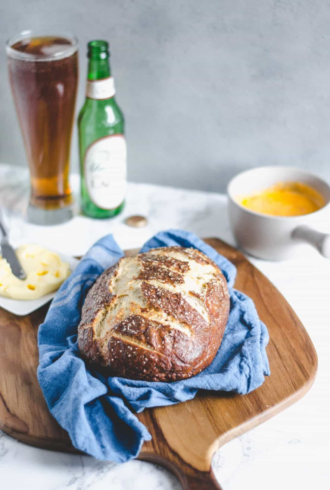 Pretzel bread with pinemto beer cheese