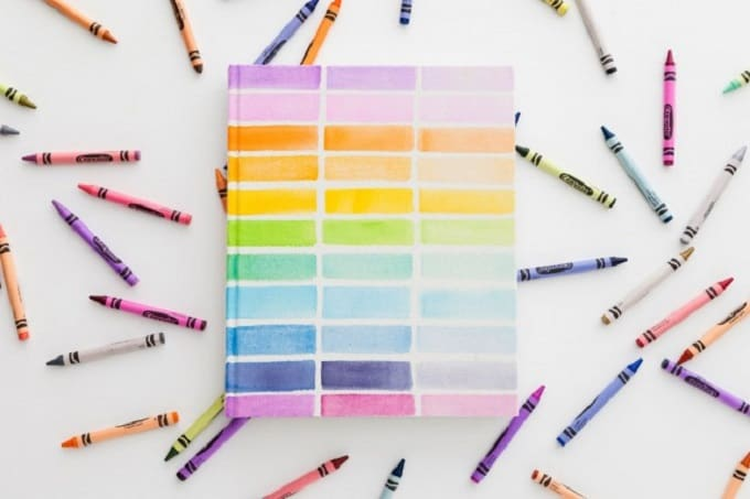 Rainbow watcolour notebook