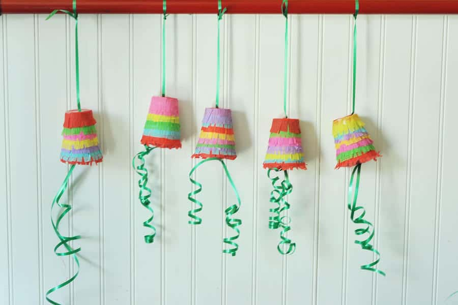 Regular paper cup and tissue paper pinatas