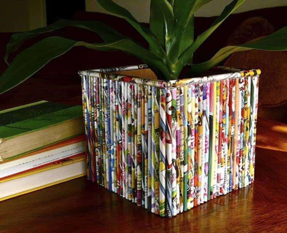 Rolled magazine tree planter