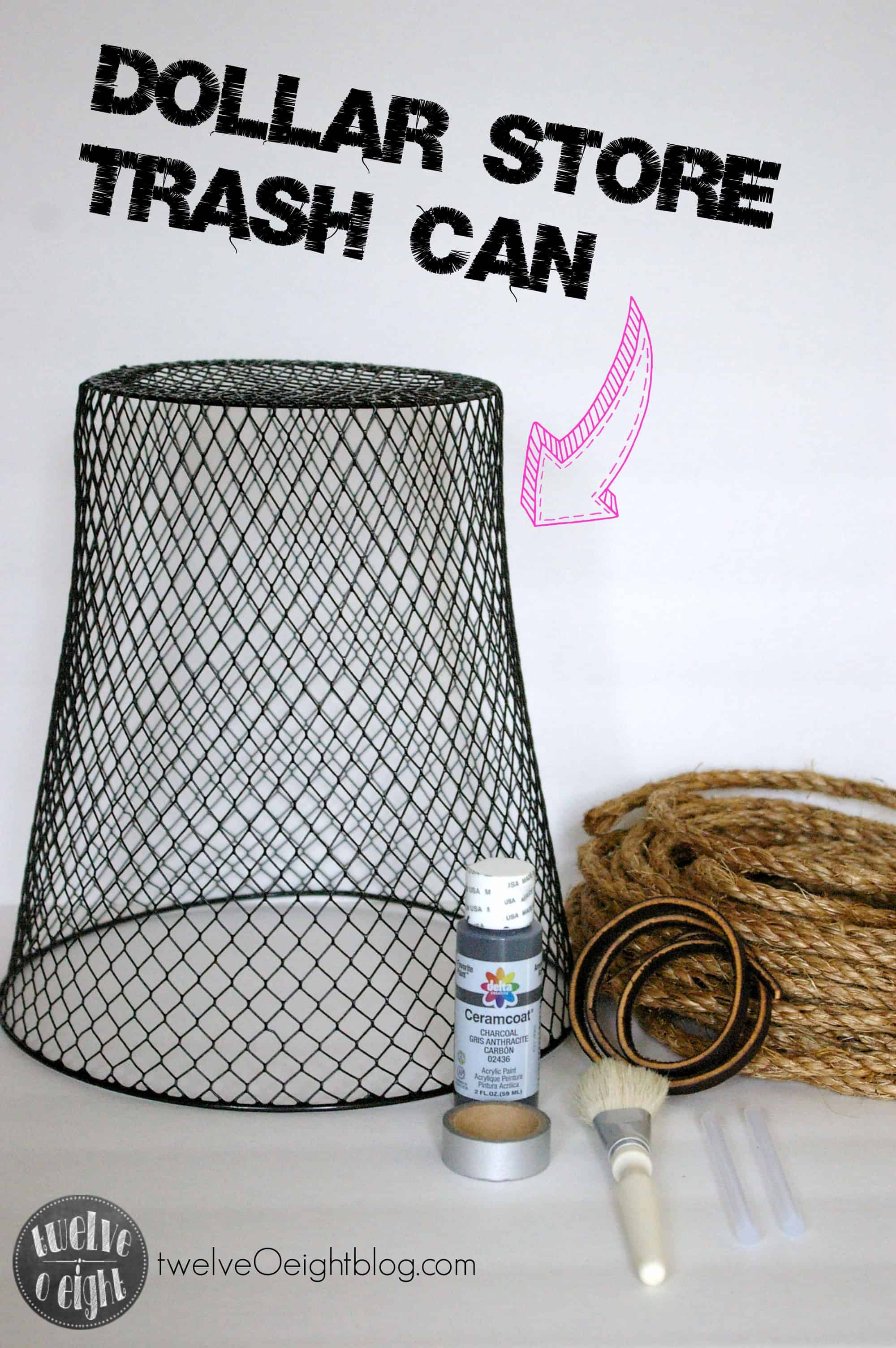 Rope basket from a dollar store trash can