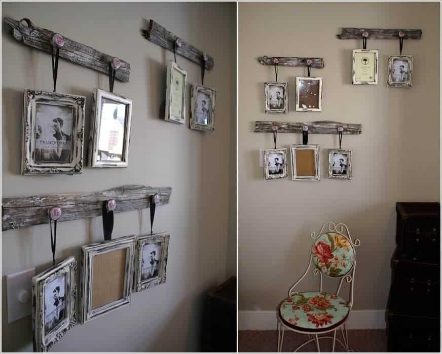 Rustic frame and ribbon barnwood photos