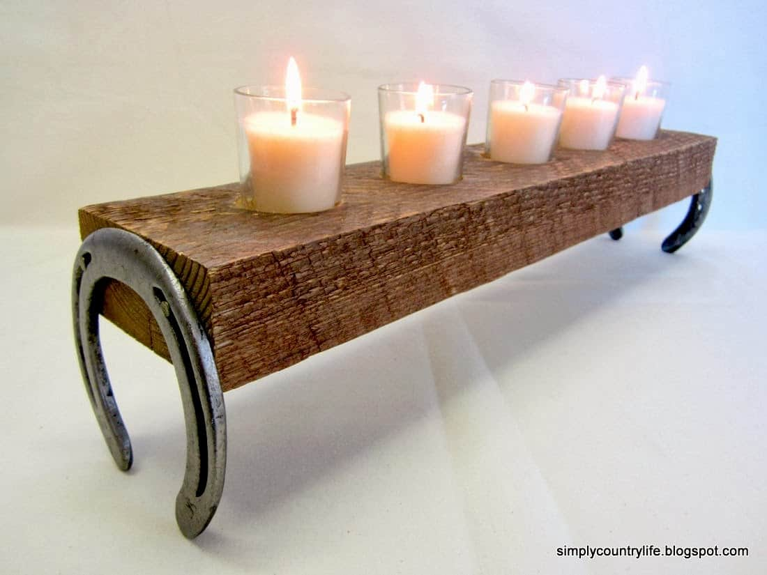 Rustic wood and horseshoe candle holder