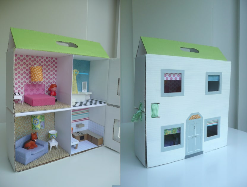 Simple cardboard dollhouse 15 Best Homemade Dollhouse Ideas and Designs