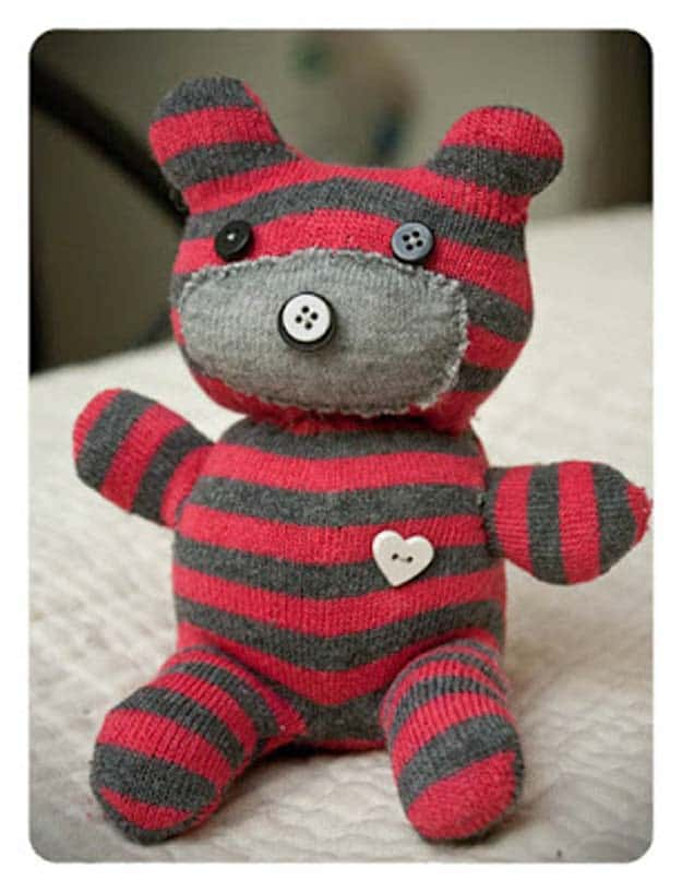 Sock and button teddybear 15 Fun Ways to Upcycle Old Socks