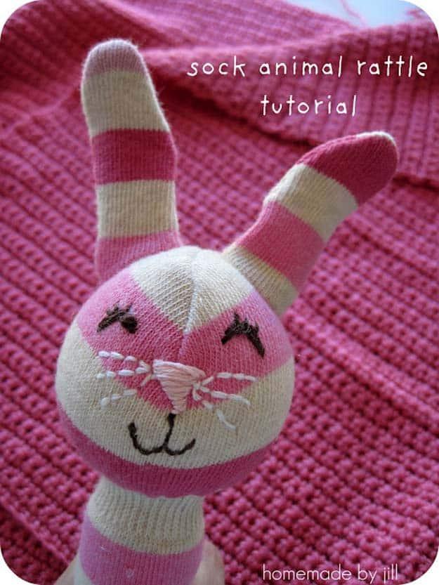 Sock animal baby rattle