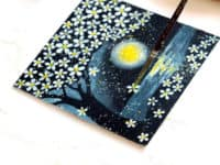 Spattered stars in a moonlit flowerscape 200x150 Unconventional Hand Painting Projects to Inspire You