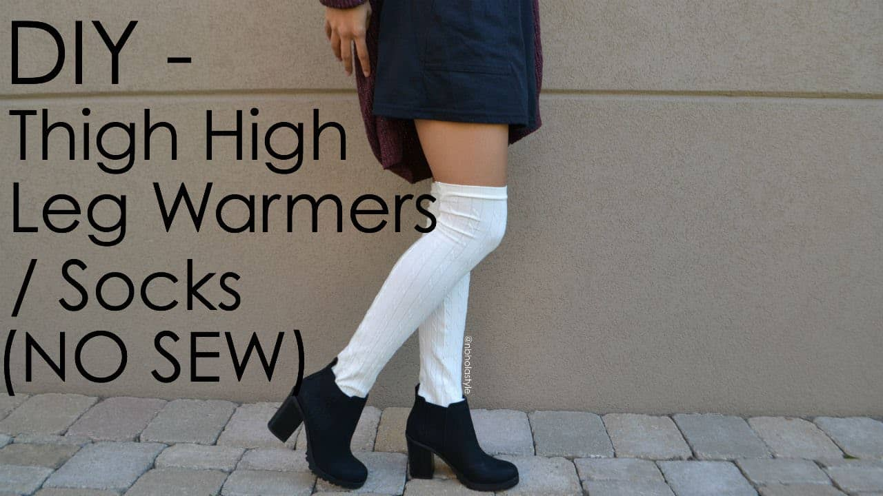 Thigh high sock style no-sew leg warmers