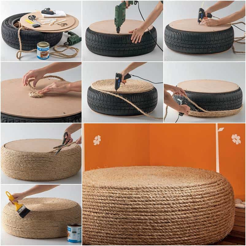 Tire annd rope pouf chair