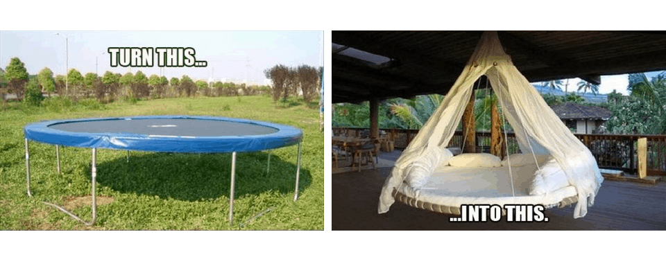 Trampoline to swing bed