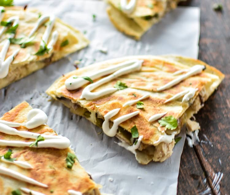Turkey and mushroom quesadillas with beer pickled jalapenos