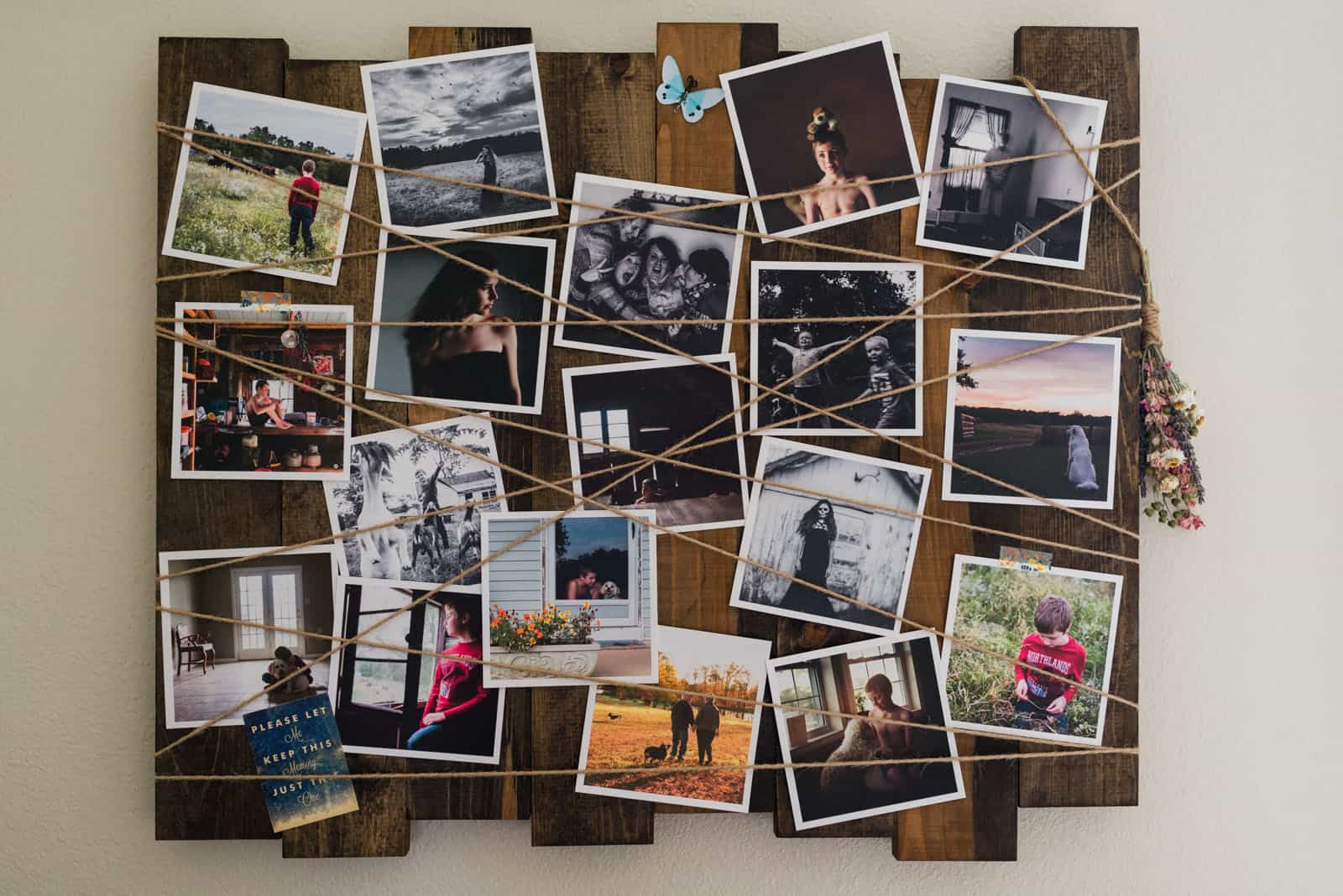 Twine and pallet photo collage