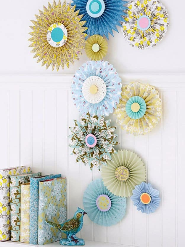 Upcycled paper pinwheel fans