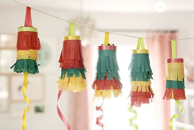 Upcycled toilet paper roll pinatas