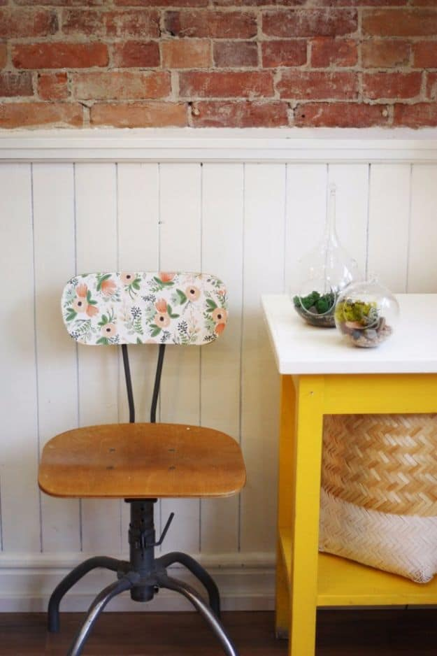 Vintage chair wallpaper makeover