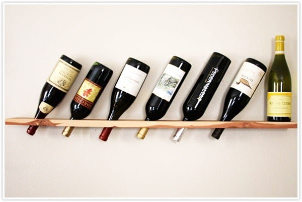 Wall mounted wood plank wine rack