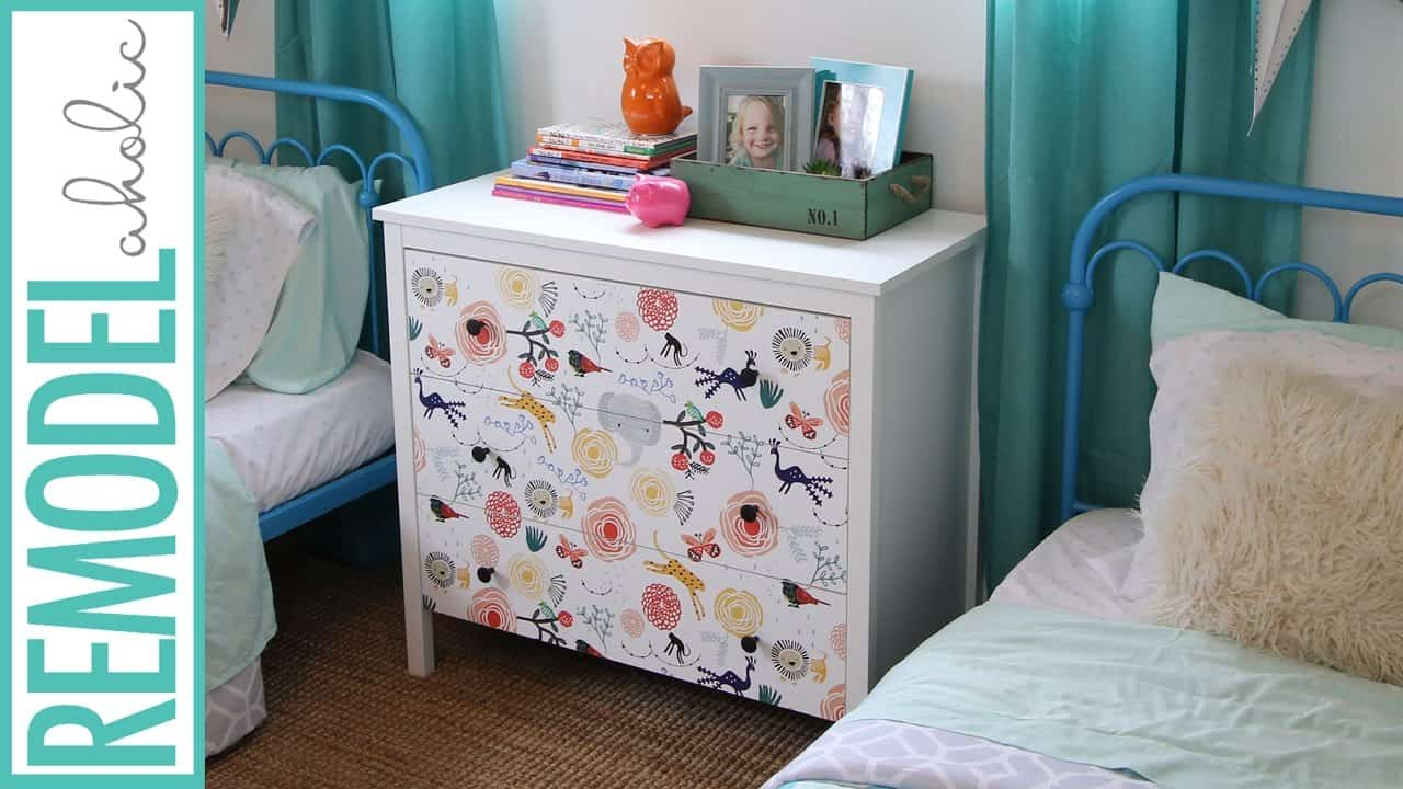Wall paper decoupage drawers