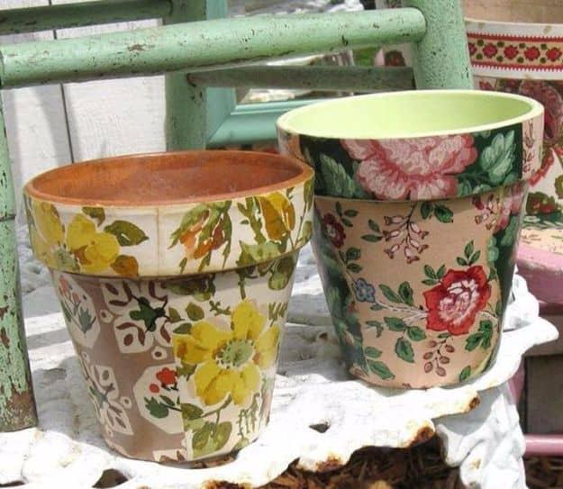 Wallpaper decoupage terra cotta pots