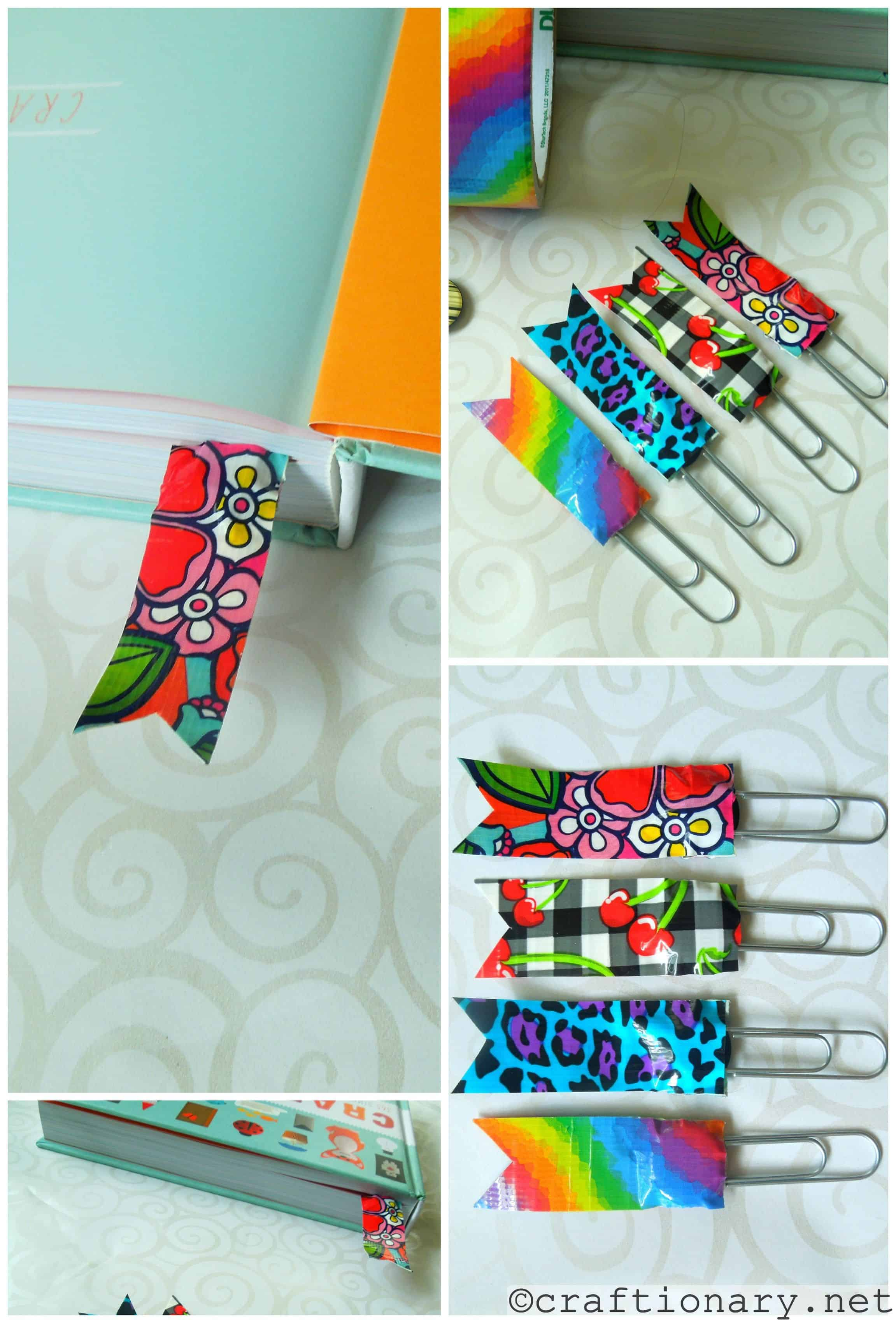 Washi tape and paperclip bookmarks