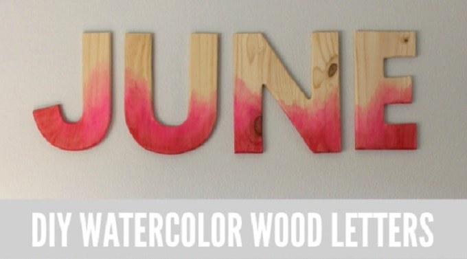 Watercolour dip dyed wooden letter decor