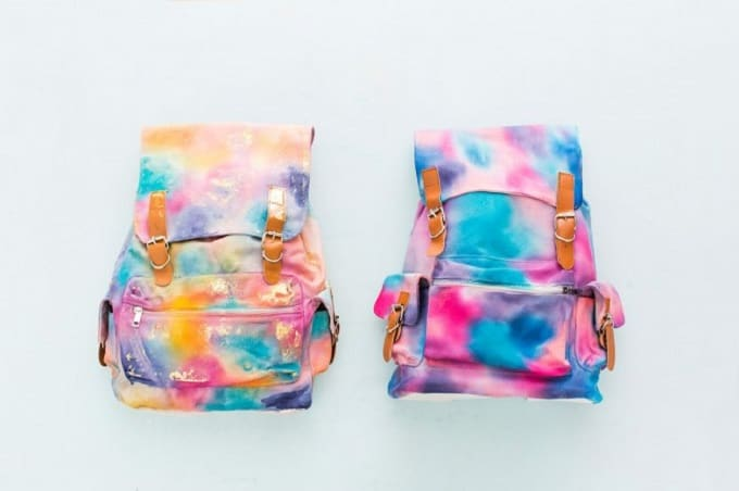 Watercolour dyed backpack