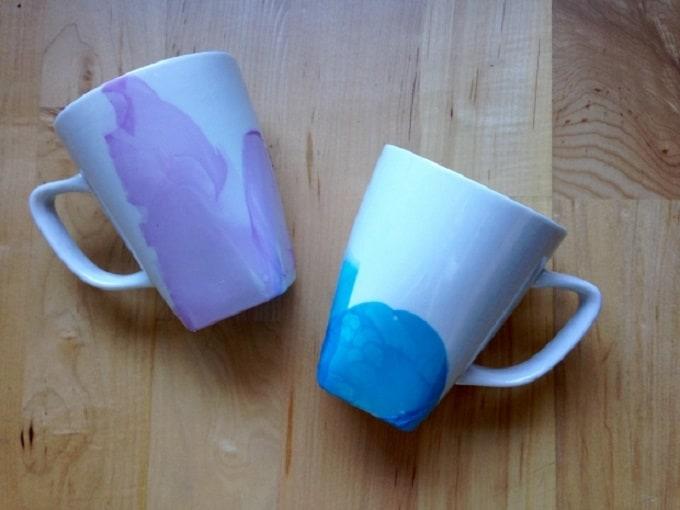 Watercolour effect dipped mugs