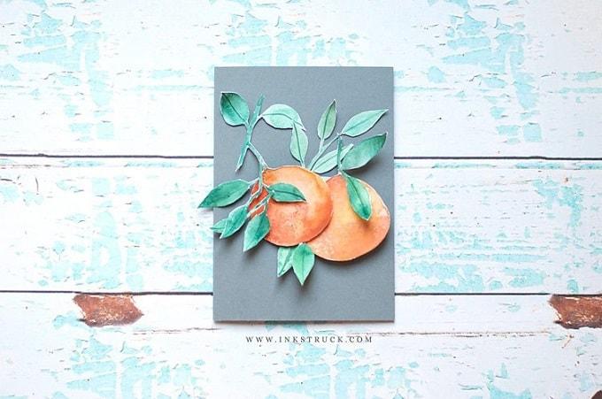 Watercolour fruit paper collage