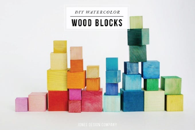 Watercolour inspired dyed wooden blocks