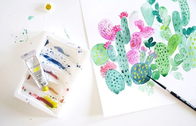 Watercolour painted cacti tutorial