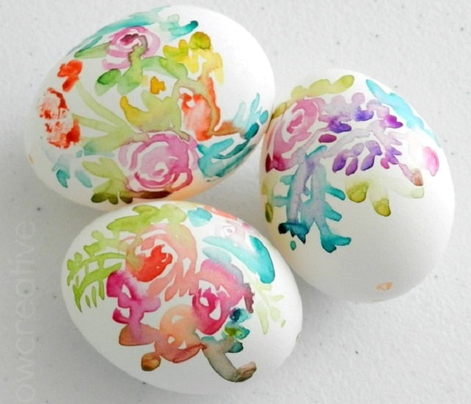 Watercolour painted eggs