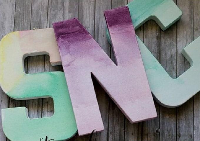 Watercolour painted monogram letters