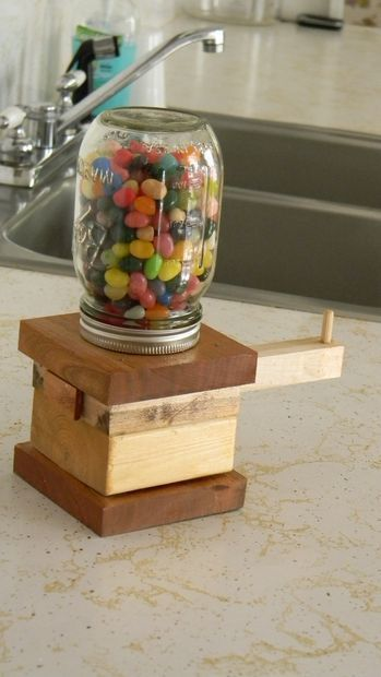 Wooden based jellybean dispenser