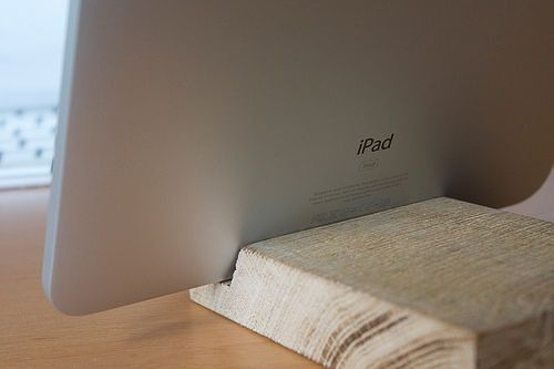 Wooden block iPad stand