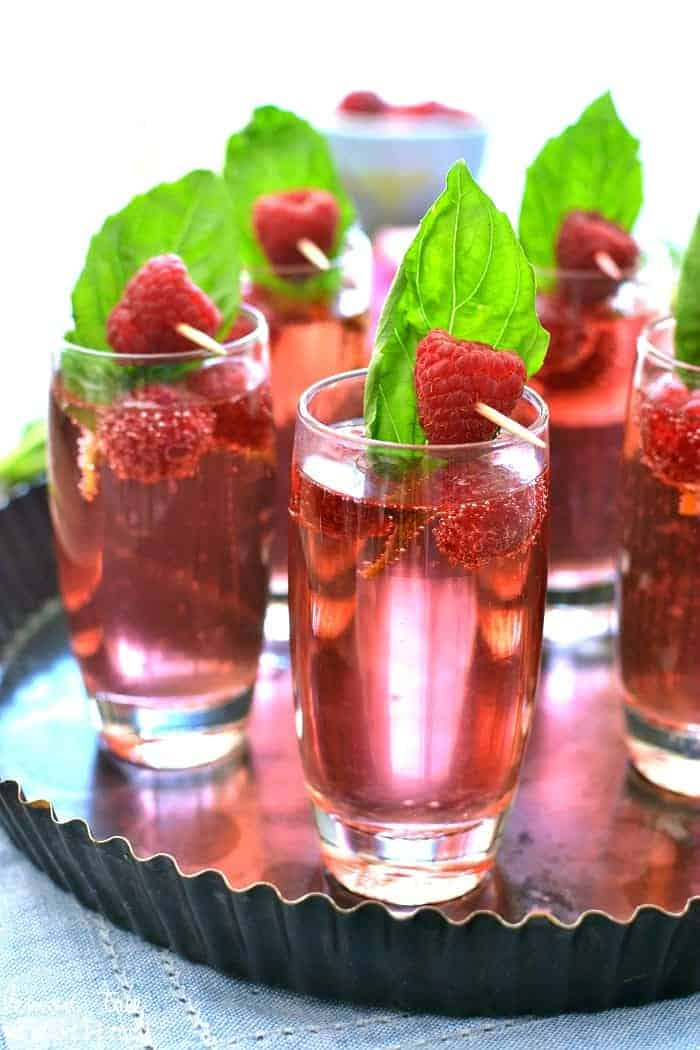 Berry basil champagne sprtizers