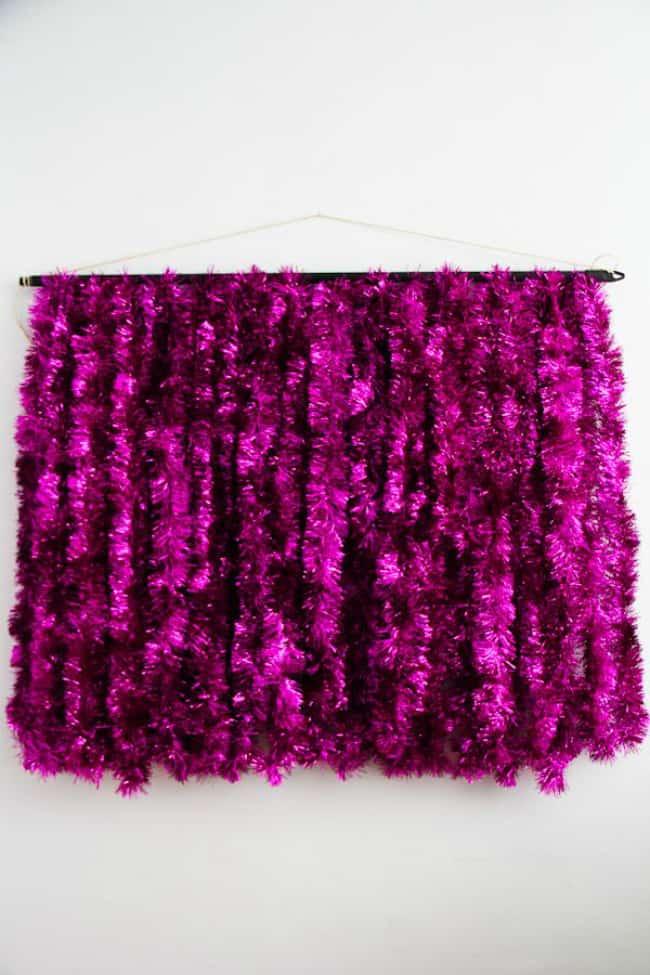 Bright tinsel wall hanger