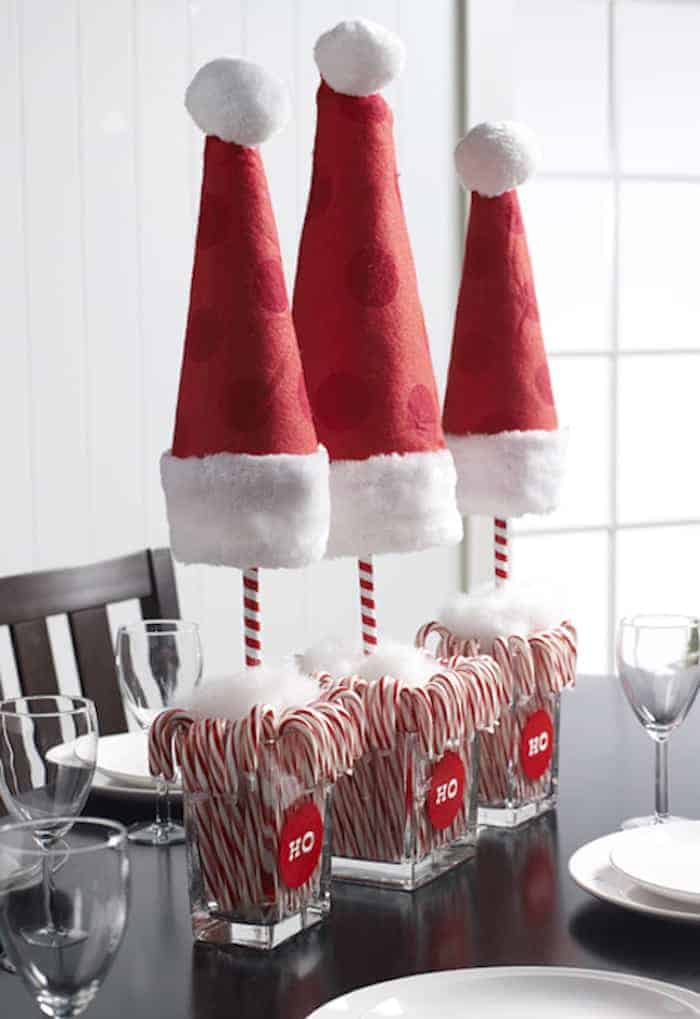 Candy cane Santa hat topiaries