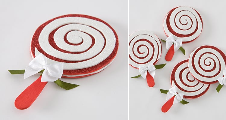 Candy cane lollipop coasters