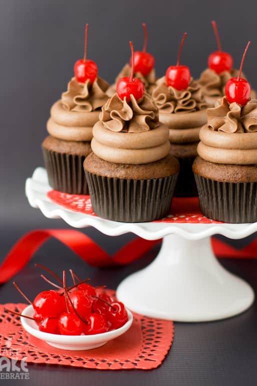 Chocolate cherry amaretto cupcakes