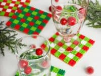 Christmas gingham perler bead coasters 200x150 No More Water Rings: Homemade Coasters for Party Season and Beyond