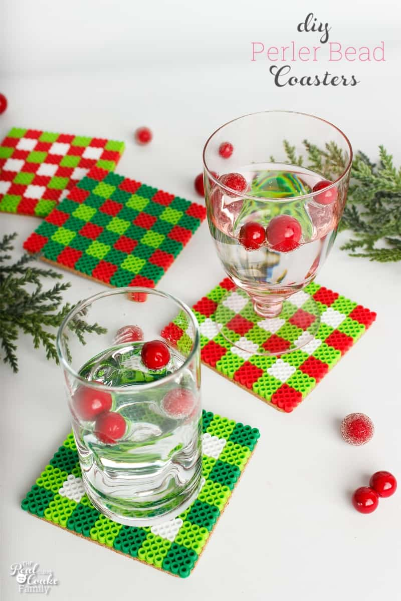 Christmas gingham perler bead coasters