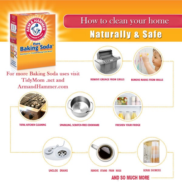 Clean pots and household wares with baking soda