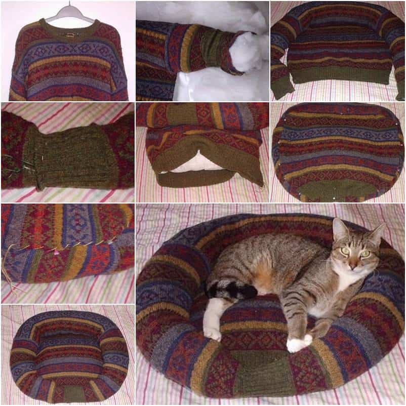 Comfy sweater cat bed