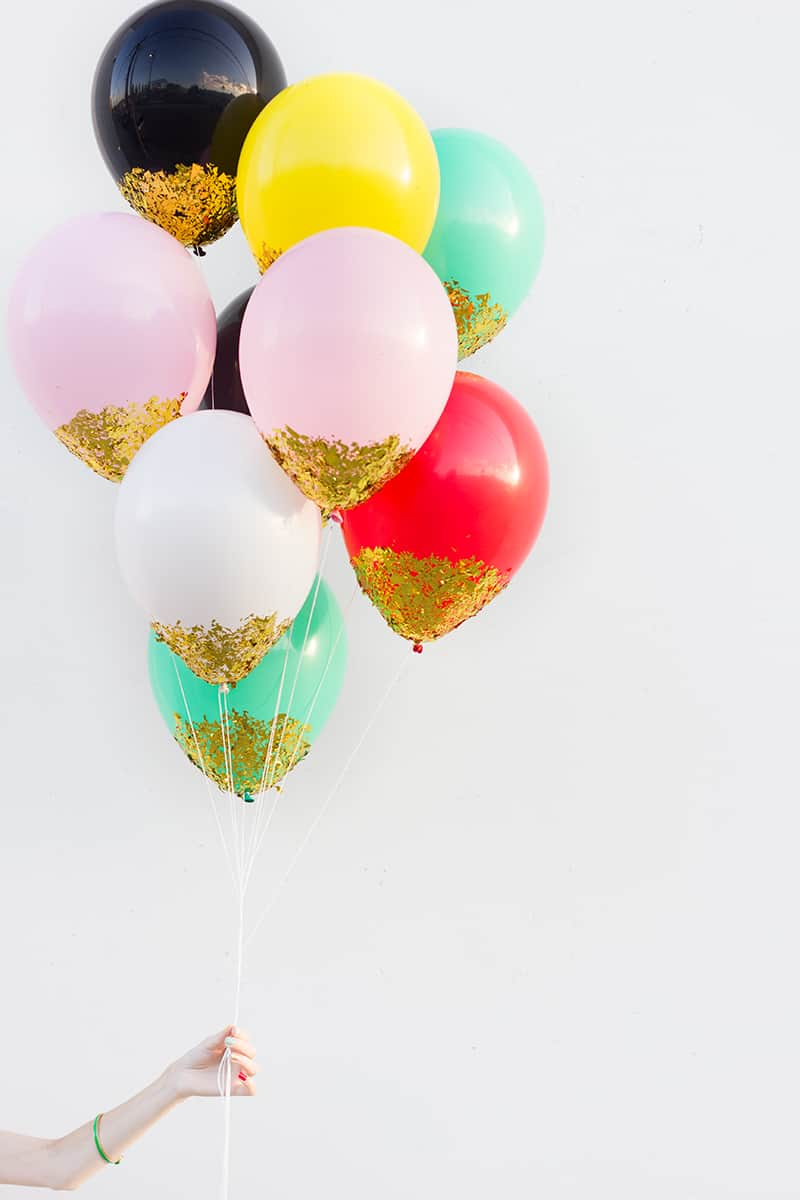 Confetti dipped balloons for NYE scapes