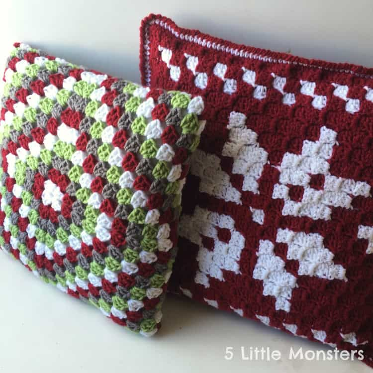 Crocheted Christmas pillow covers