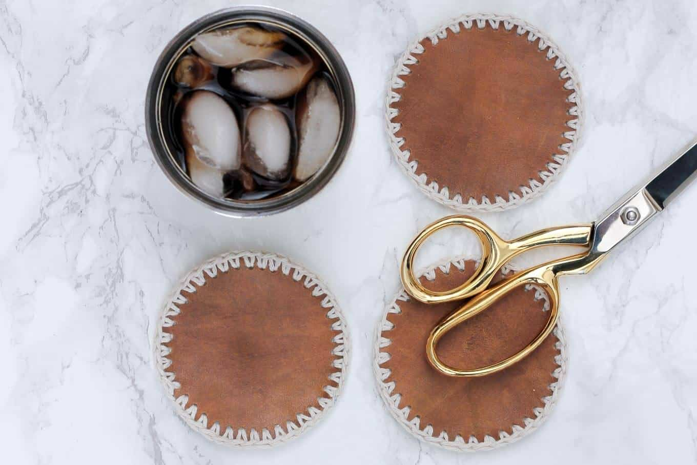 DIY leather and crochet coasters