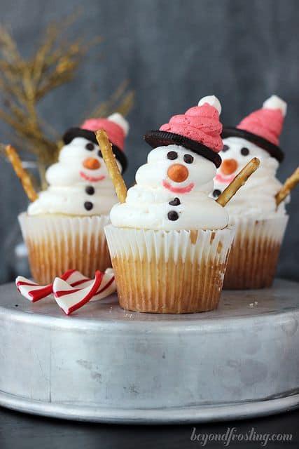 DIY snowman cupcakes